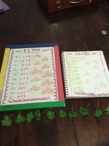 Using the clovers from our story and form drawing to write in multiplication facts
